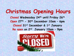 Christmas opening hours Shannon Leisure Centre