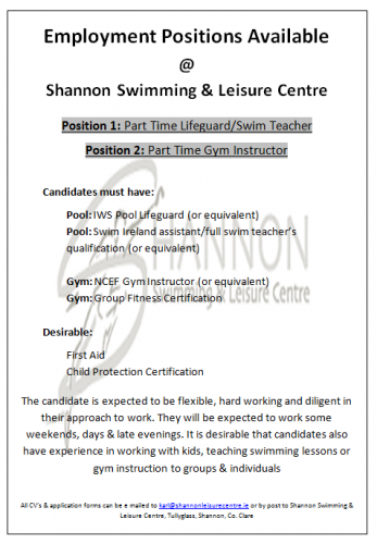Gym & Pool Positions Available Shannon Leisure Centre