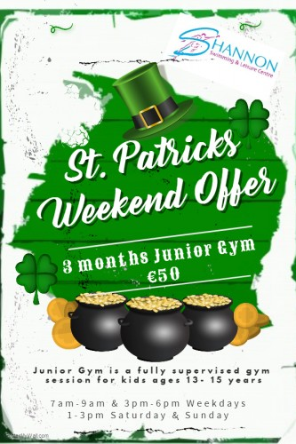 Paddys Day offer Shannon Leisure Centre