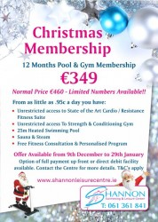 Christmas Membership Special Offer Shannon Leisure Centre