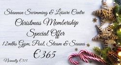 Shannon Swimming & Leisure Centre Christmas Membership Special Offer-2020