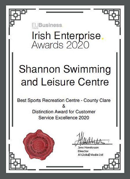 Irish Enterprise Award Winners Shannon Swimming & Leisure Centre