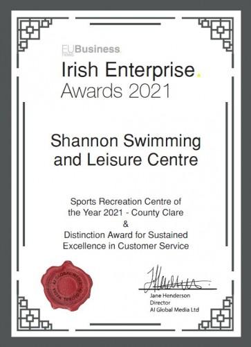 Shannon Swimming and Leisure Centre 2021 EU Business News Irish Enterprise Award Winners